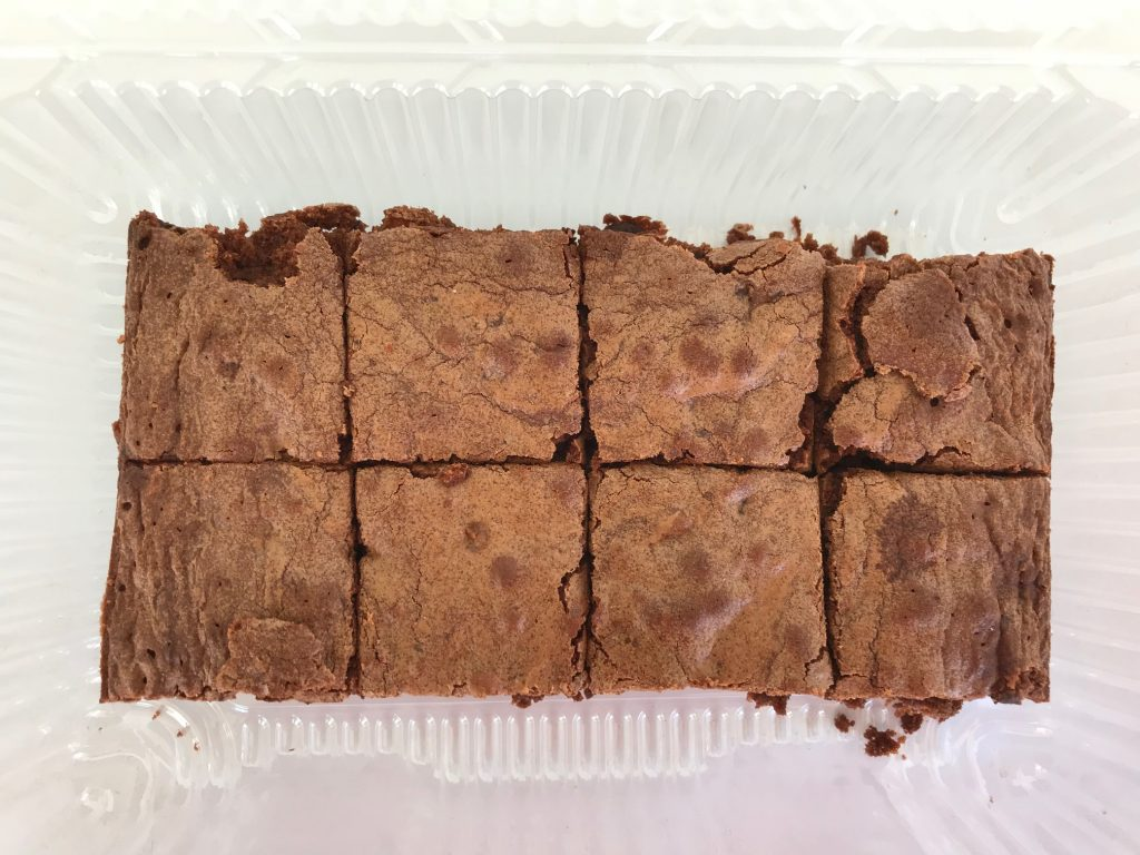 A package of homemade brownies cut into squares